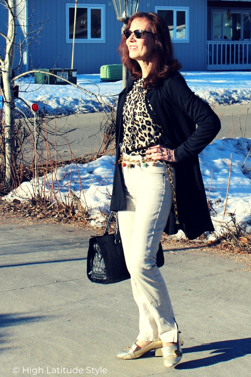 over 50 years old style blogger in all neutral business casual look with rouser, cardigan and top