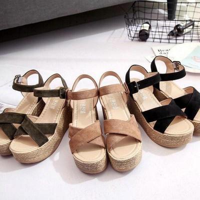 Velvet flock platform sandals