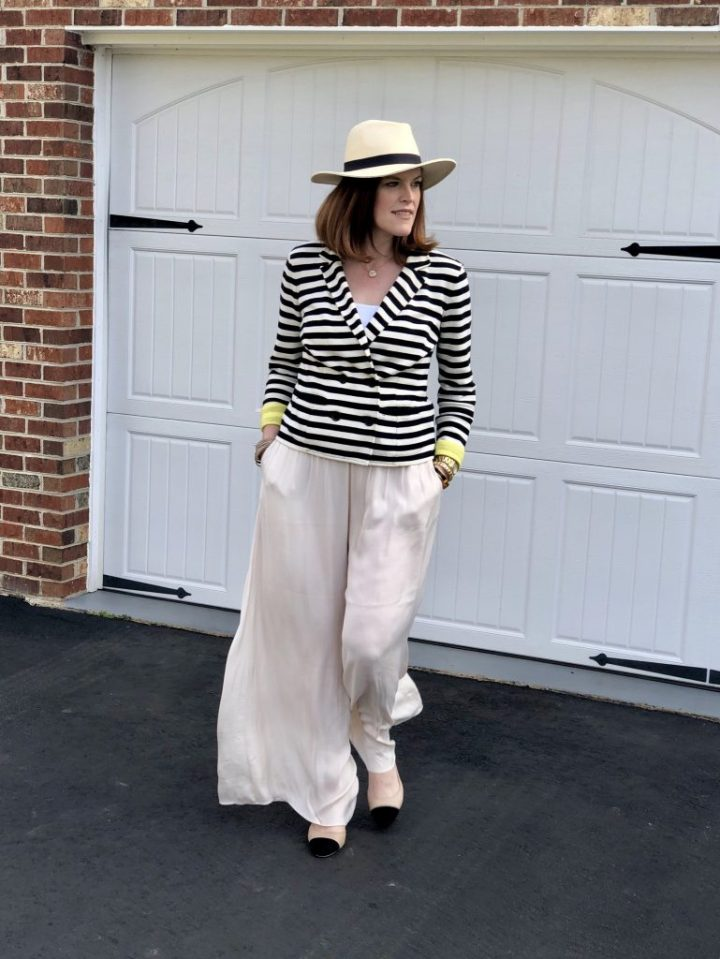 Top of the World OOTD My Fav Christine Besen of Bon Chic Style looking super chic in palazzo pants