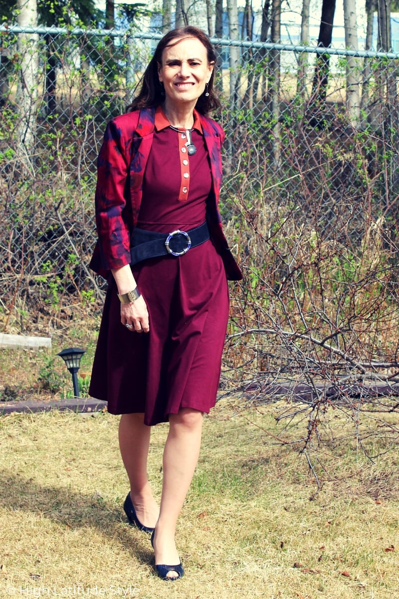 Alaskan blogger wearing burgundy fit-and-flare dress with a jacket in May