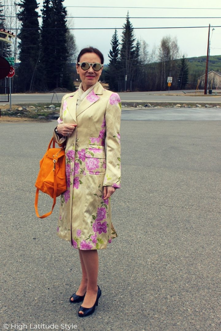 mature woman in spring outerwear