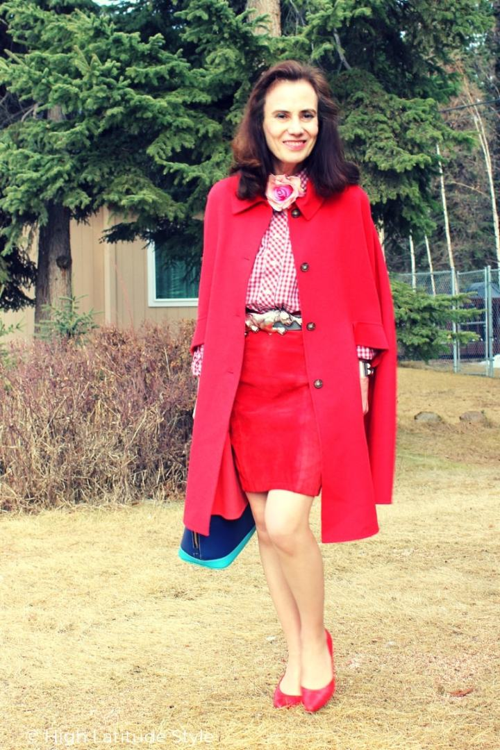 style blogger in street wear in red with a pop of blue