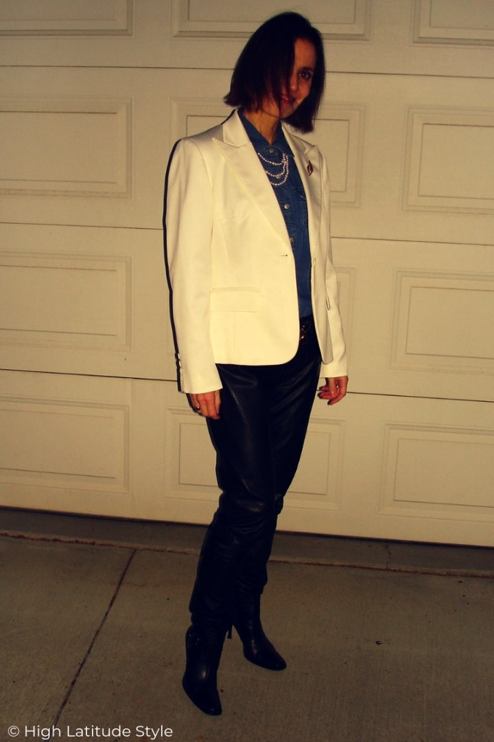 over 50 years old style book author showing what color pants go with white blazer