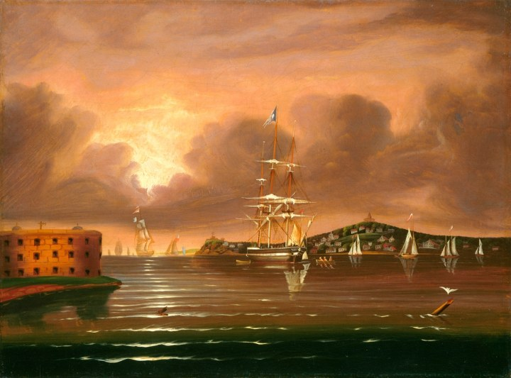 Thomas Chambers, Painting, Threatening Sky, Bay of New York, mid 19th century evidence of air pollution