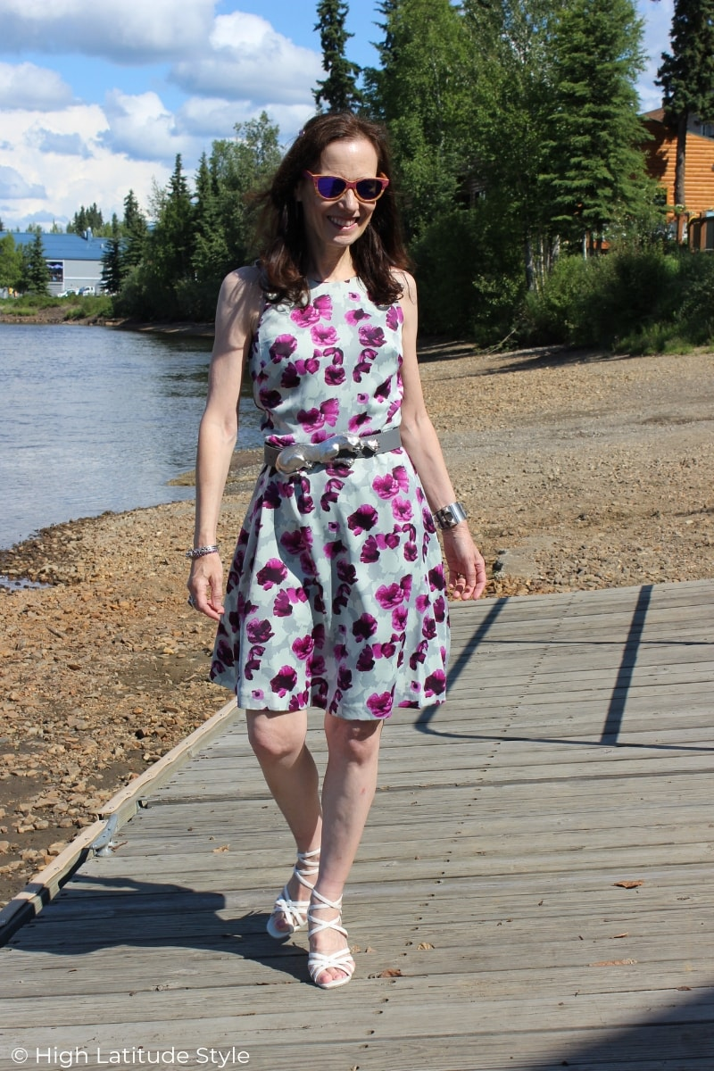 midlife blogger in a fancy summer dress
