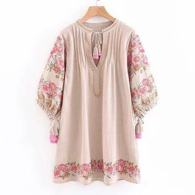 embroidered peasant style women's tunic