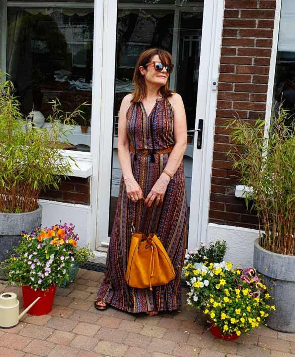 Hilda in brown holder neck with Boho bag