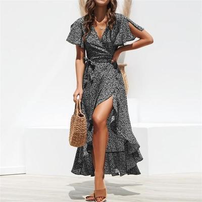 Janis vegan womens long Boho chiffon dress