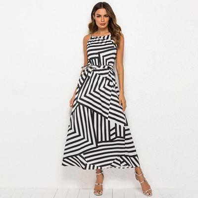 summer black and white floor length casual abstract print gown