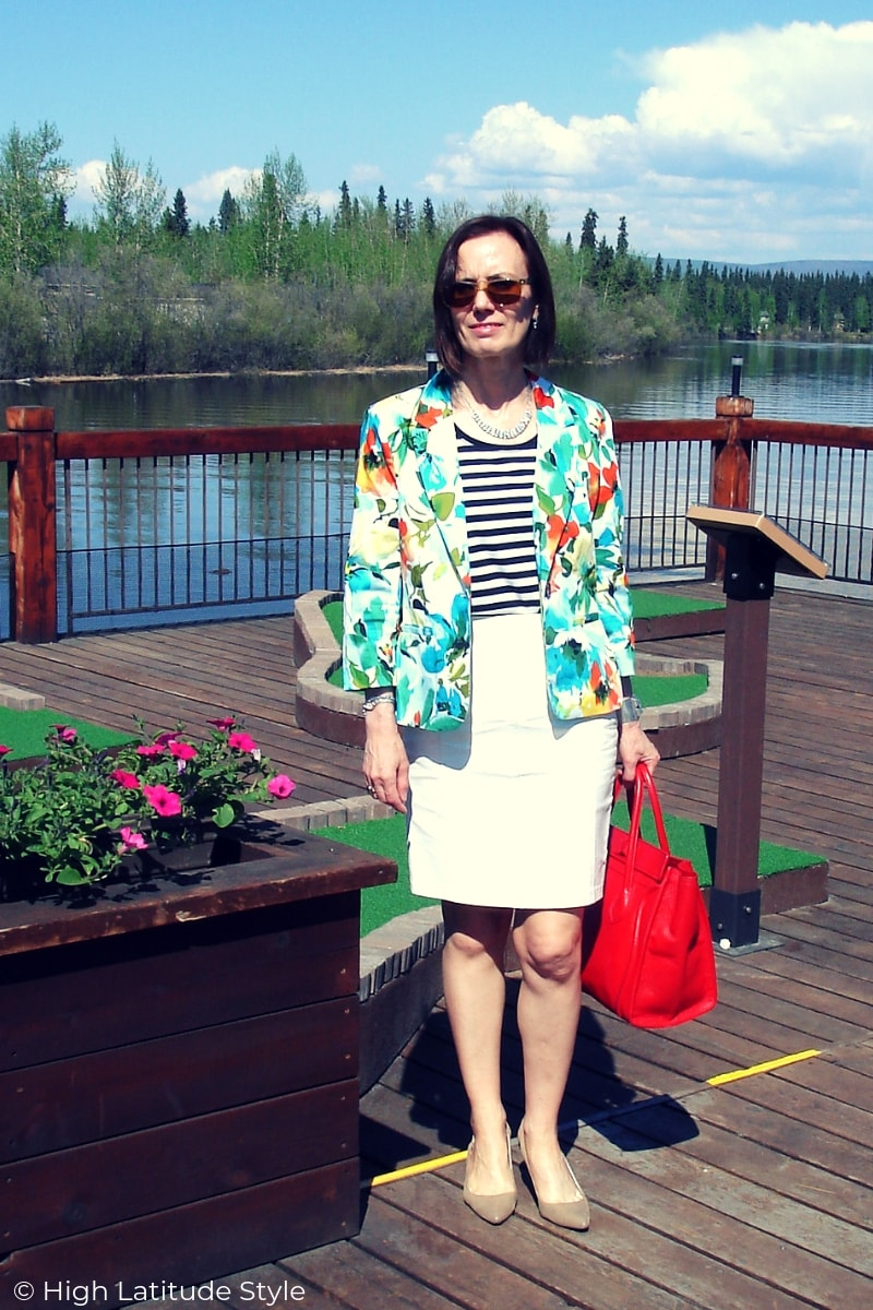 Nicole of High Latitude Style in white leather skirt, printed jacket and striped T-shirt