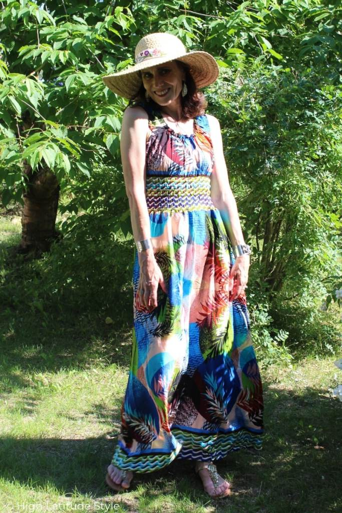 over 50 years old Alaskan in abstract print sleevless maxi dress