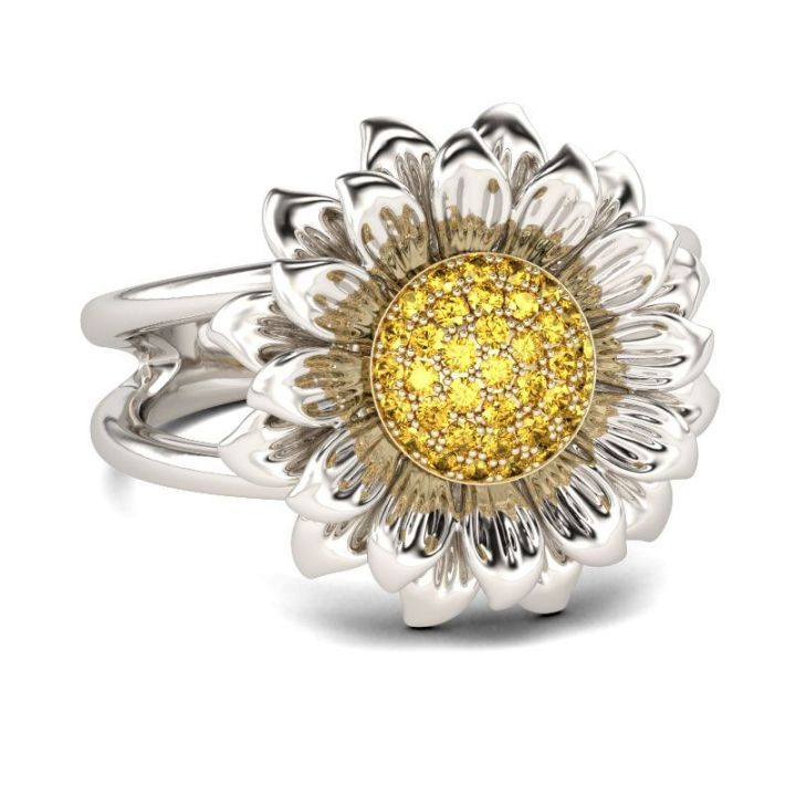 sunflower jewelry with yellow crystal accents