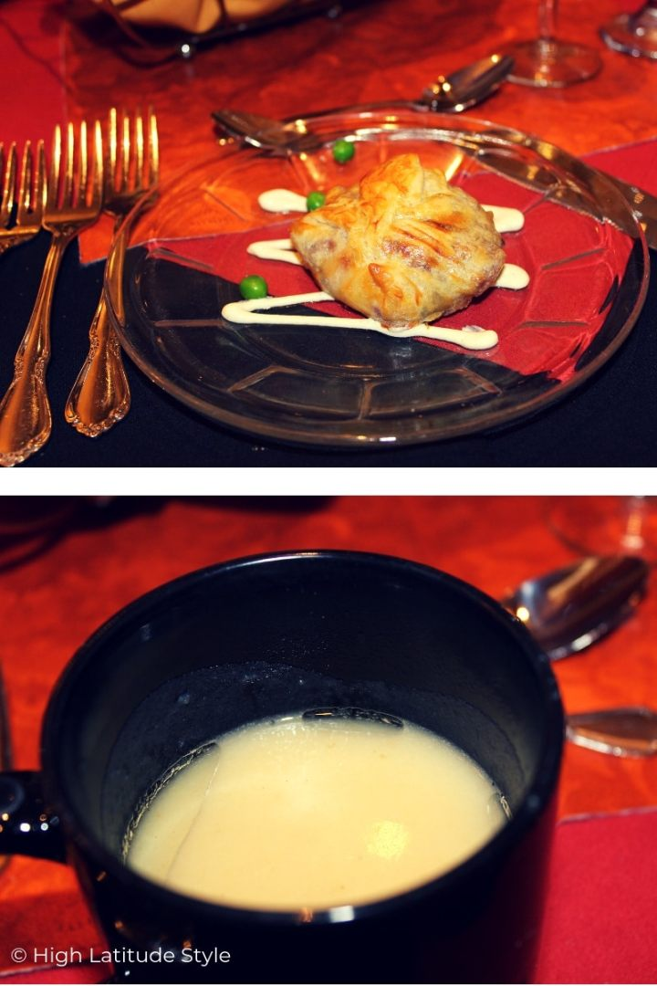 Appetizer (top) and potato soup in a mug (bottom)
