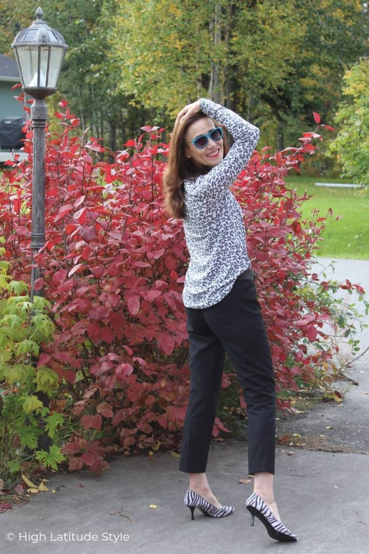Nicole of High Latitude Style in fall's BW trend with pop of color