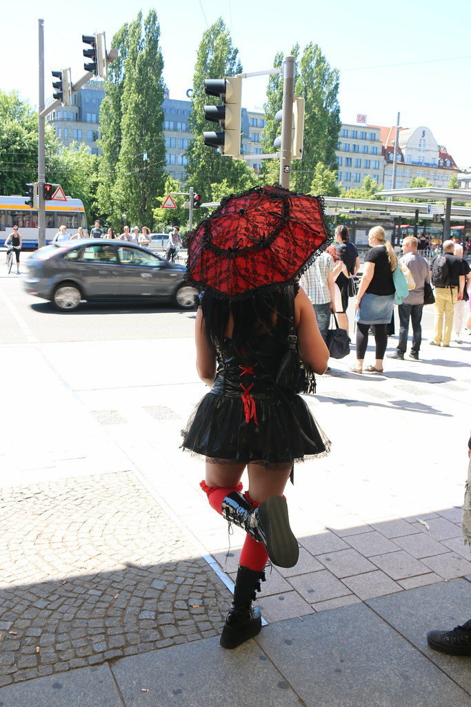 woman in Gothic fashion in Leipzig Germany
