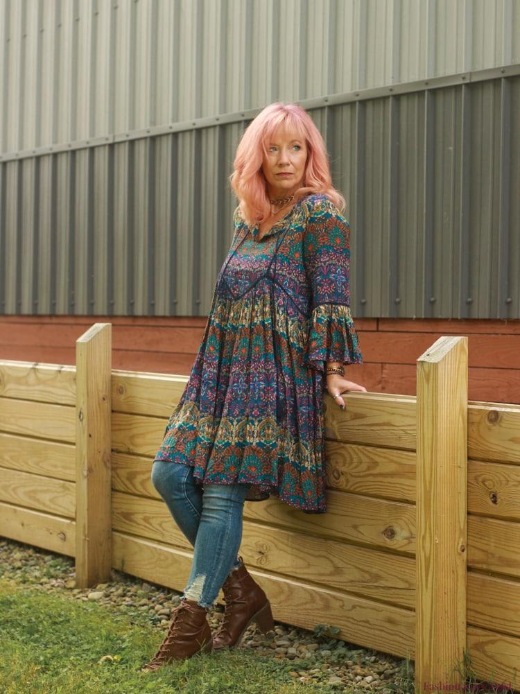 Top of the World OOTD Readers' Fav Debbie in Bohemian dress over skinny jeans