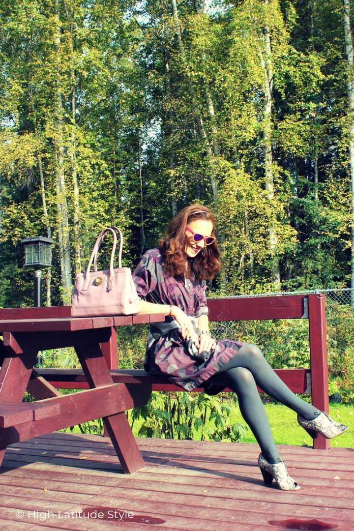 over 50 years old Alaskan sitting on a bench in Hipstik legwear