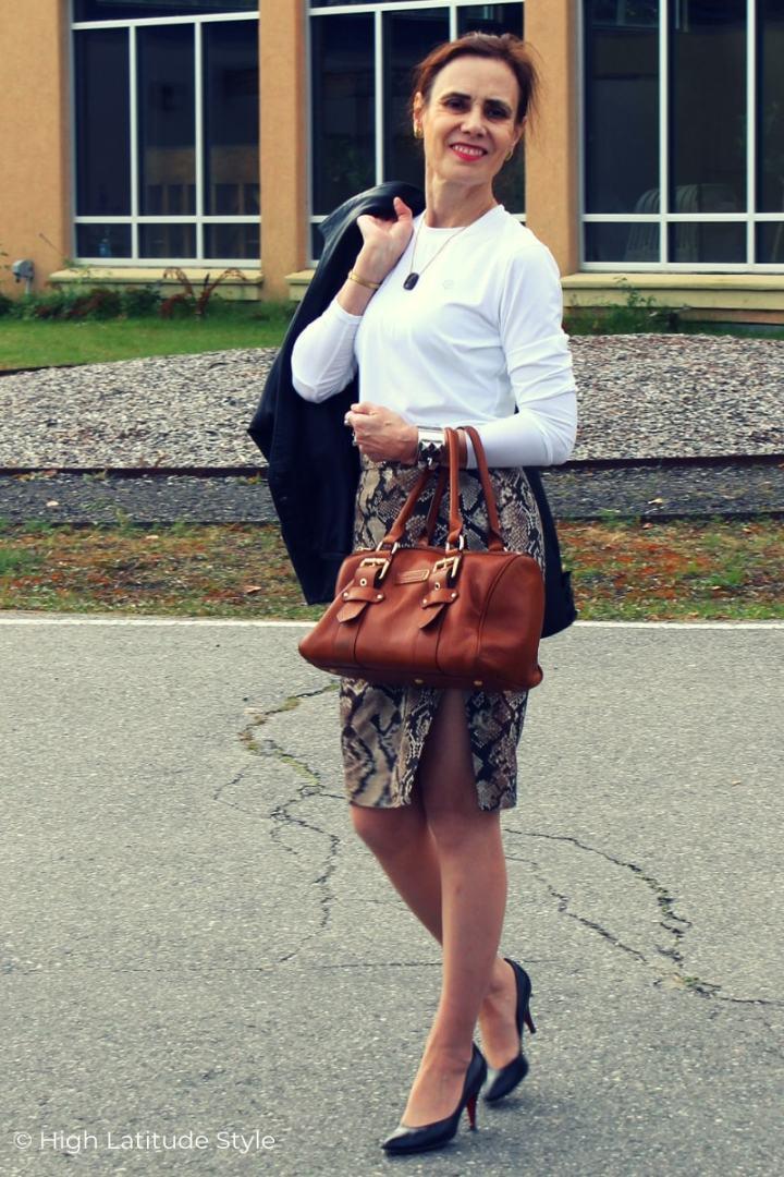 nicole in white top, slit snakeskin pencil skirt, pumps