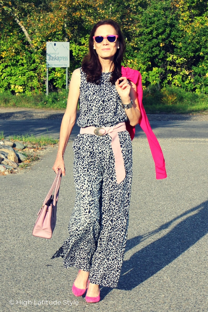 midlife woman in UPF clothes style casual posh for work