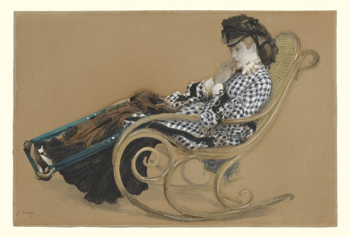 Young Woman in a gingham jacket in a Rocking Chair