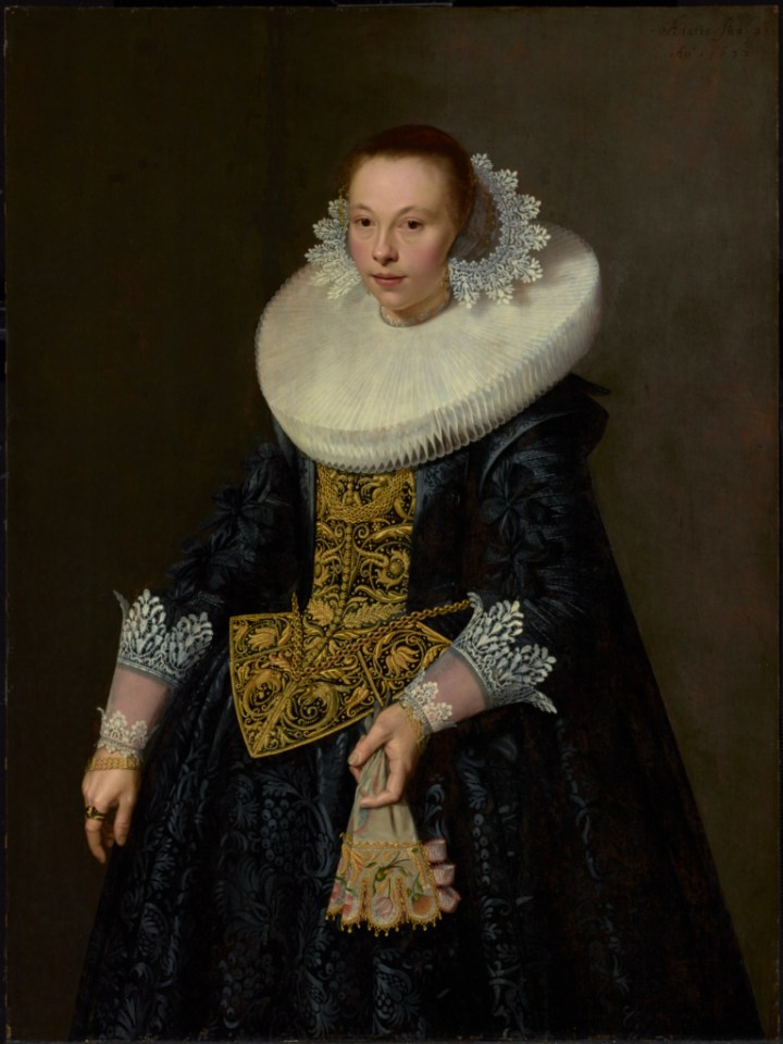 Nicolaes Eliasz. Pickenoy portrait of a Young Woman in black gown with white color