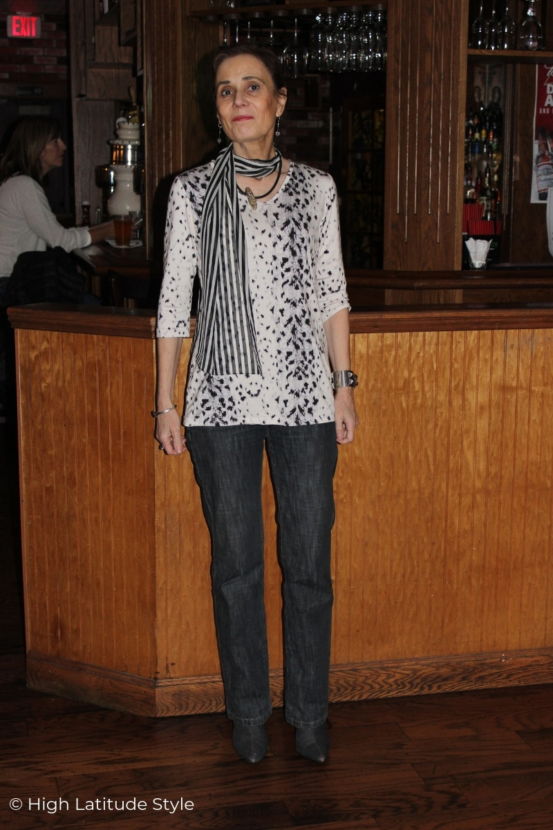 midlife stylist in casual Friday look with animal print and stripes