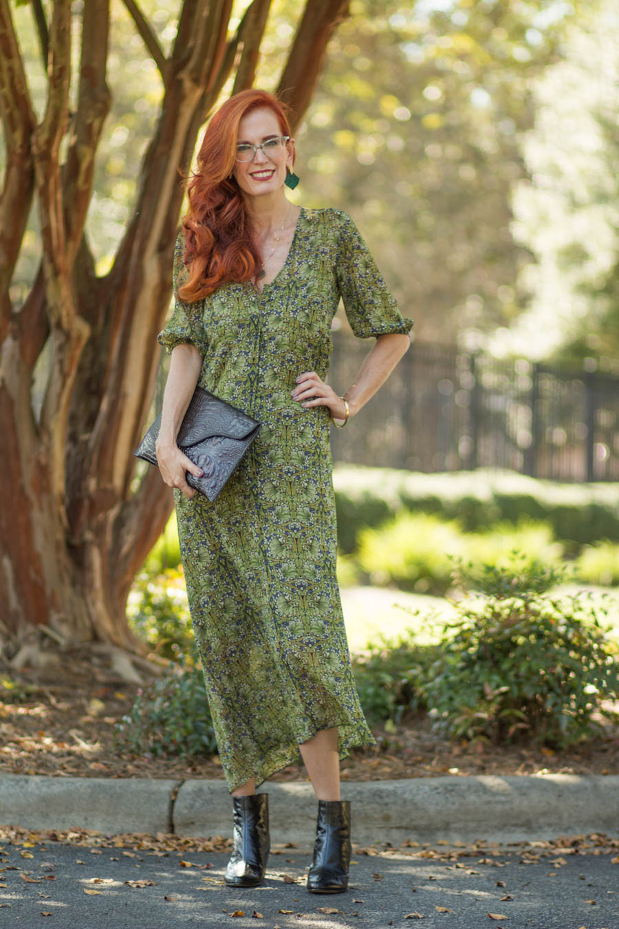 Top of the World OOTD Readers' Fav Jess in green print midi shirt dress