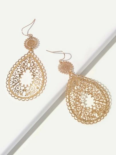 Shein hollow out waterdrop earrings