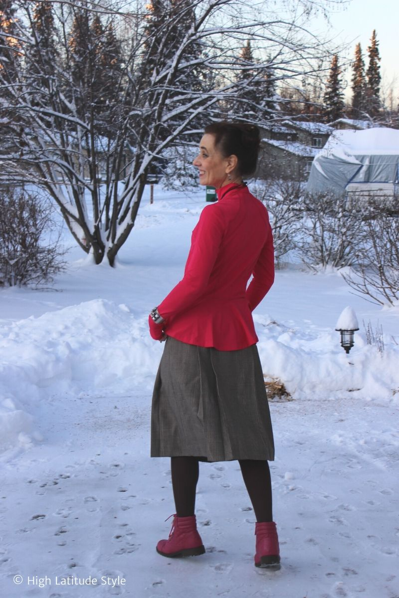 woman in winter skirt and jacket outfit