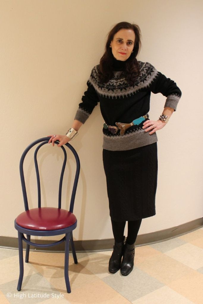 Nicole in cable knit skirt, sweater, statement belt cold weather outfit