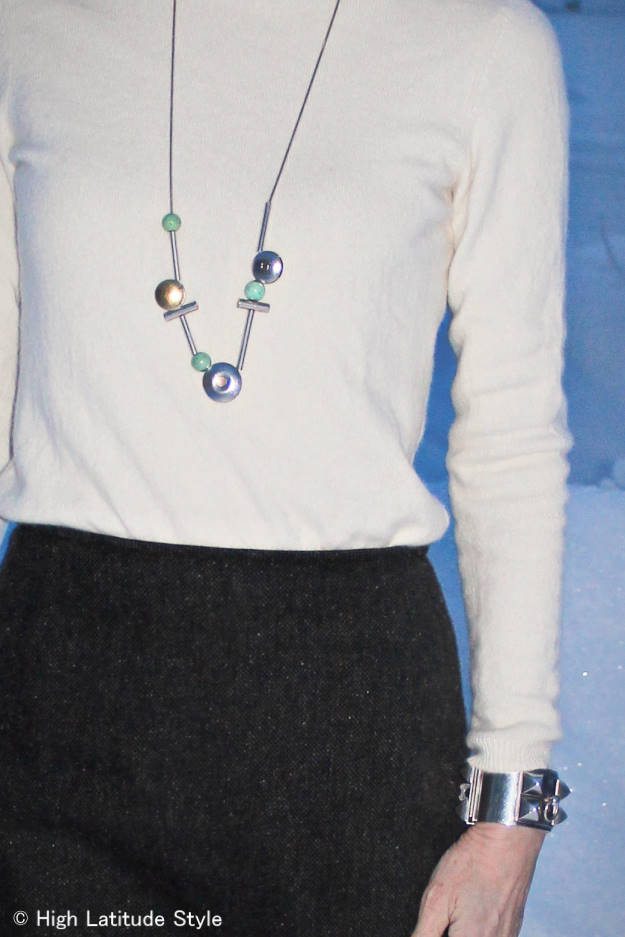 necklace over sweater