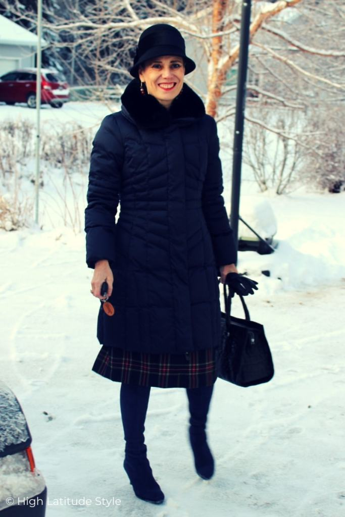style book author in posh winter outerwear