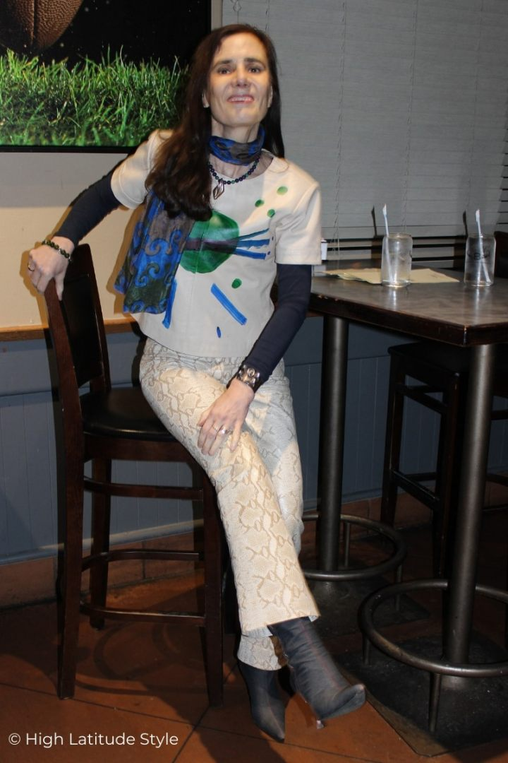 Nicole of High Latitude style featuring how to wear the snakeprint pants trend