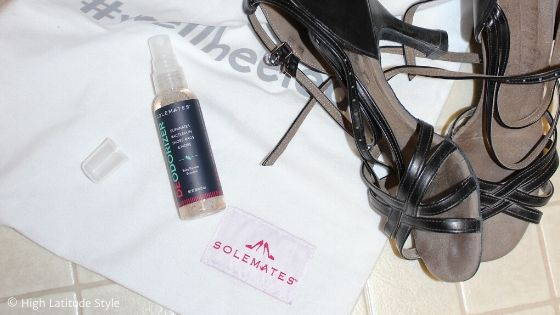 black salsa sandals and anti odor treatment in a bottle