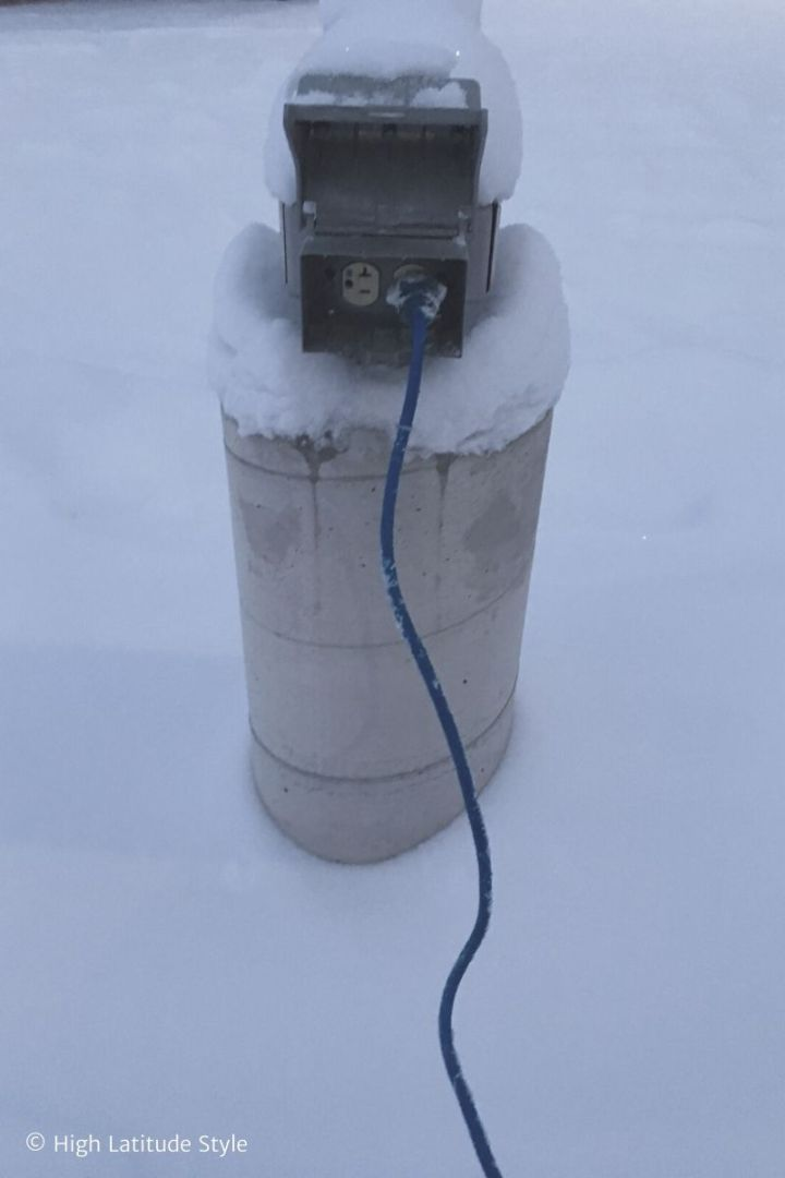 electricity outlet in a parking lot in College, AK