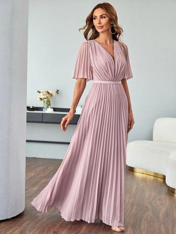 Pleated Gathered Waist Maxi Chiffon Dress