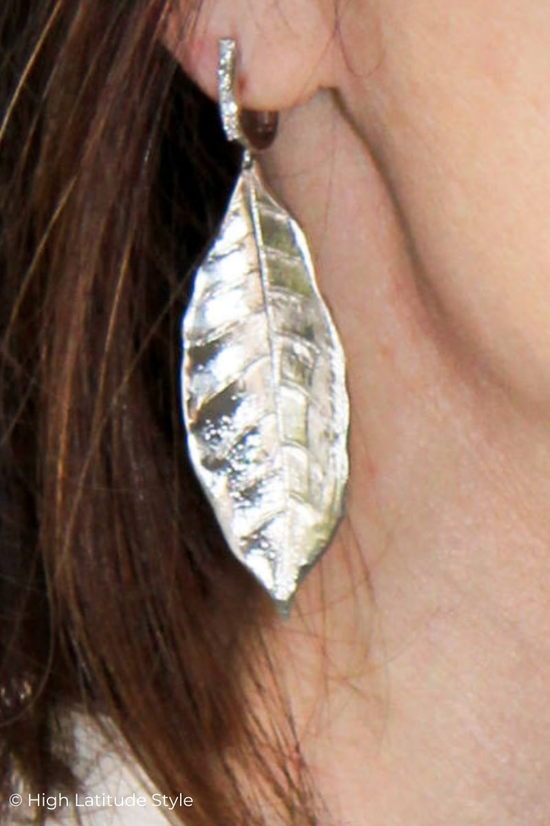 Sterling silver leaf with diamantee