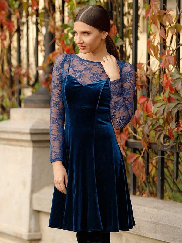 royal blue long lace sleeves bodice fit-an-flare midi winter semi-formal attire