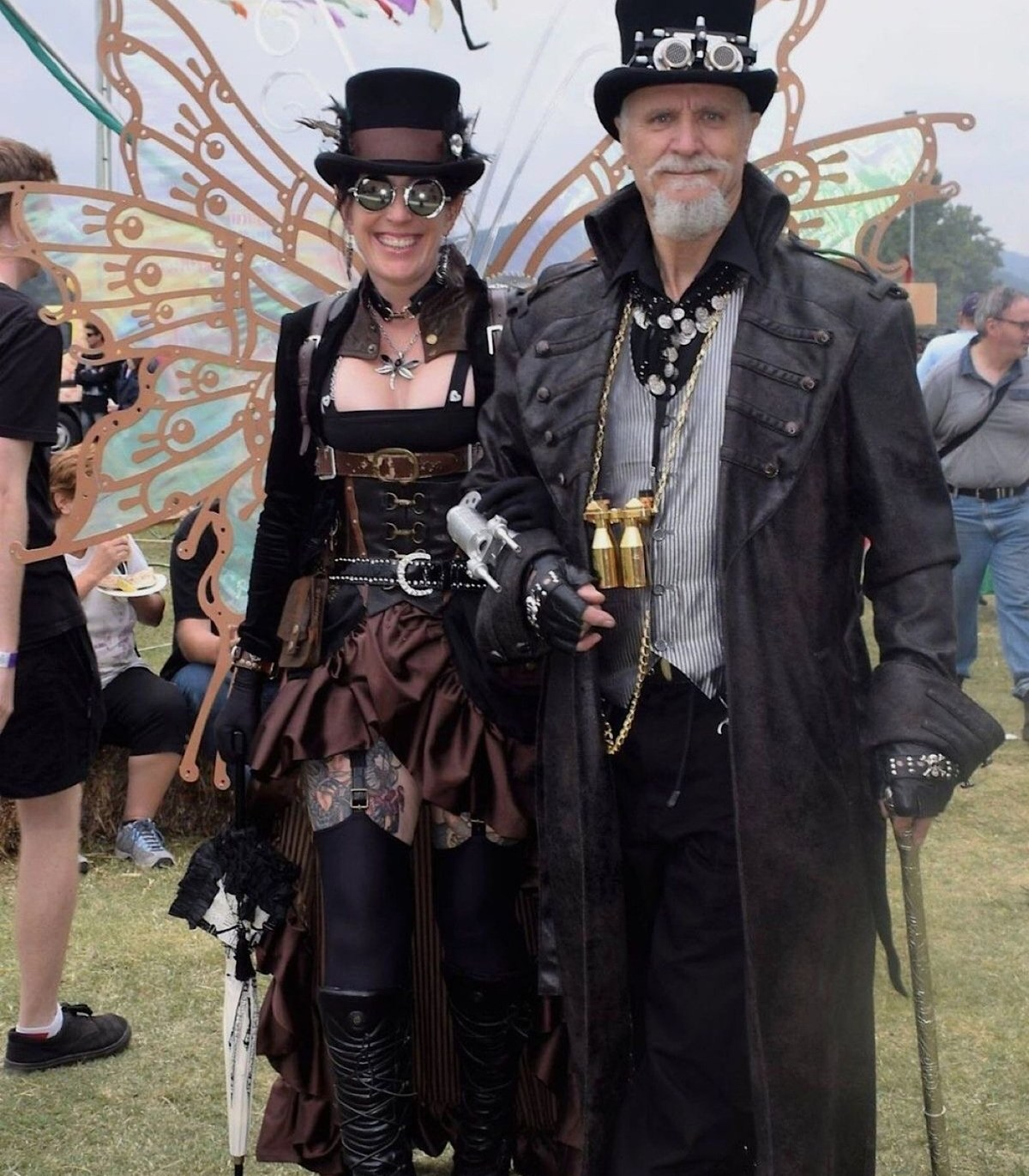 steampunk couple in typical attire