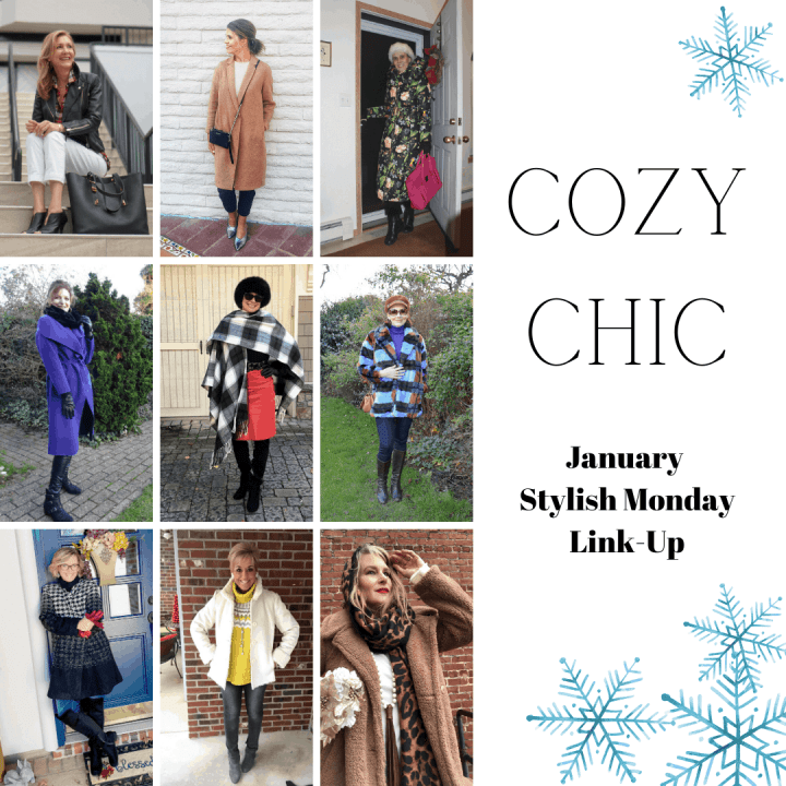 9 hostesses of January Stylish Monday linkup in cozy chic outfits