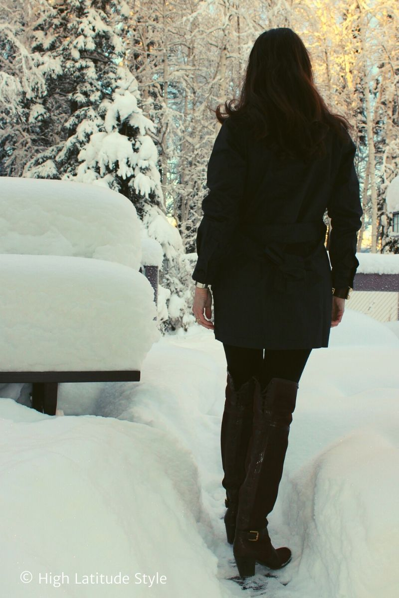style book author in Femme Luxe utility jacket, trouser leggings, otk boots