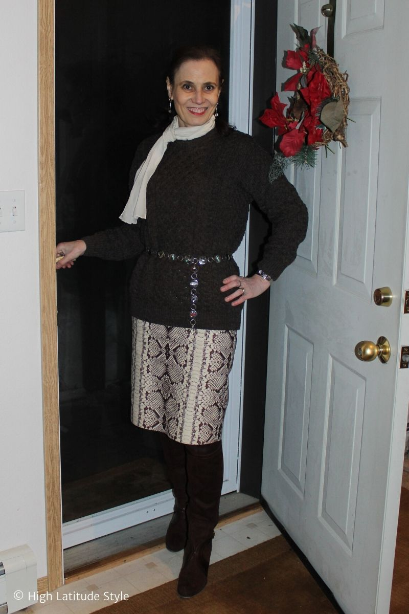 style blogger in brown winter separates with snakeskin print skirt and white scarf