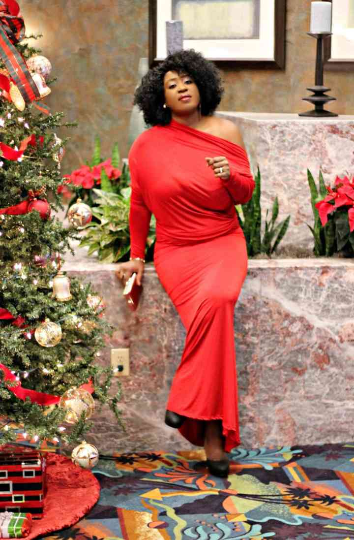 Top of the World Style Winner Edwige of Hypnoz Glam in long red cold shoulder dress