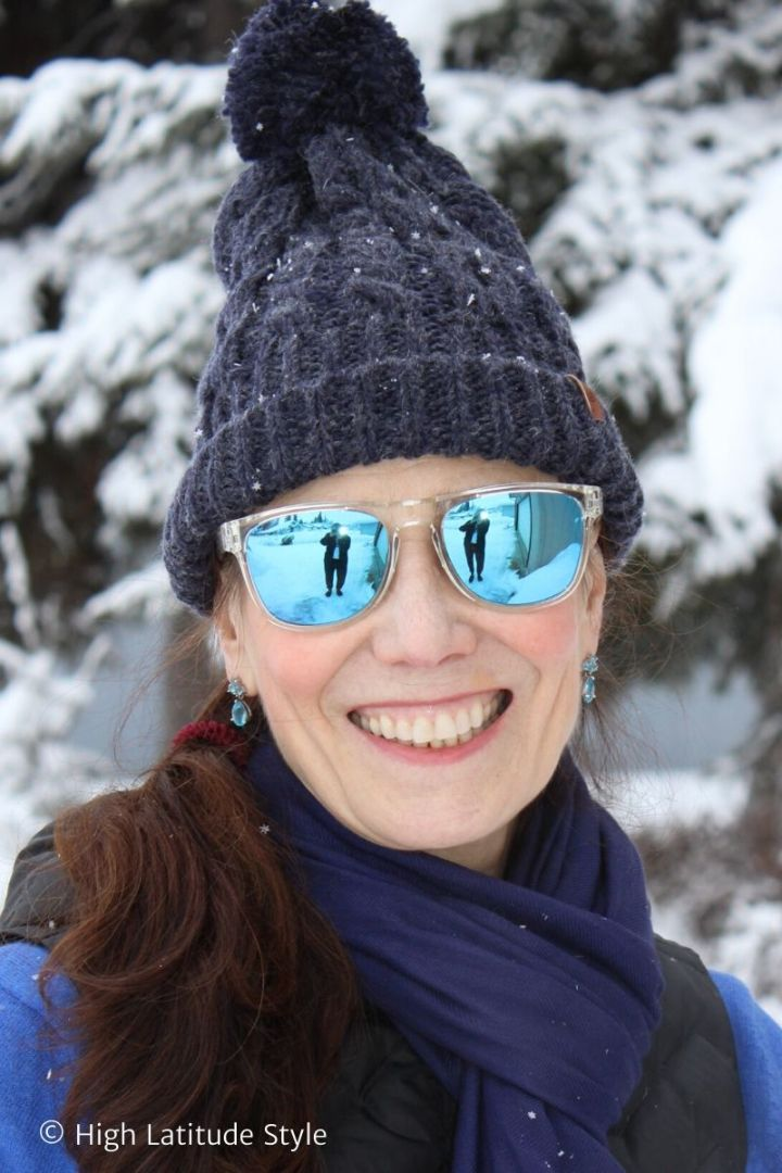 Alaskan style blogger wearing Scandinavian minimalism sunglasses and clothes