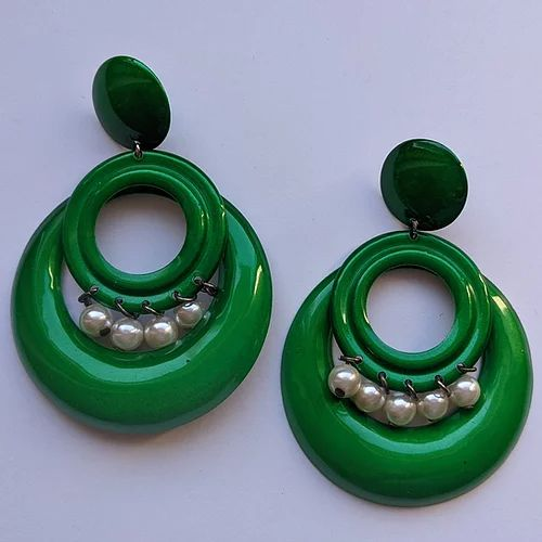 mod inspired Kelly green ear clips