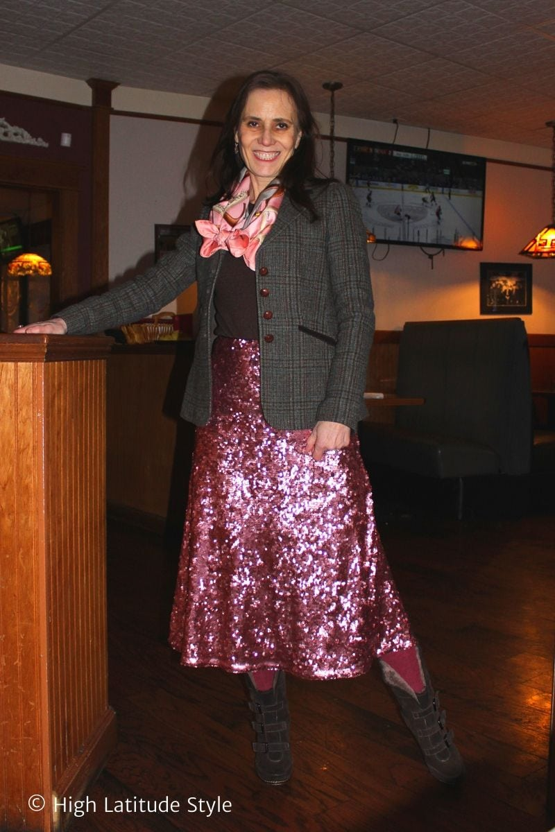 over 50 years old eclectic style blogger in an outfit from different style tribes
