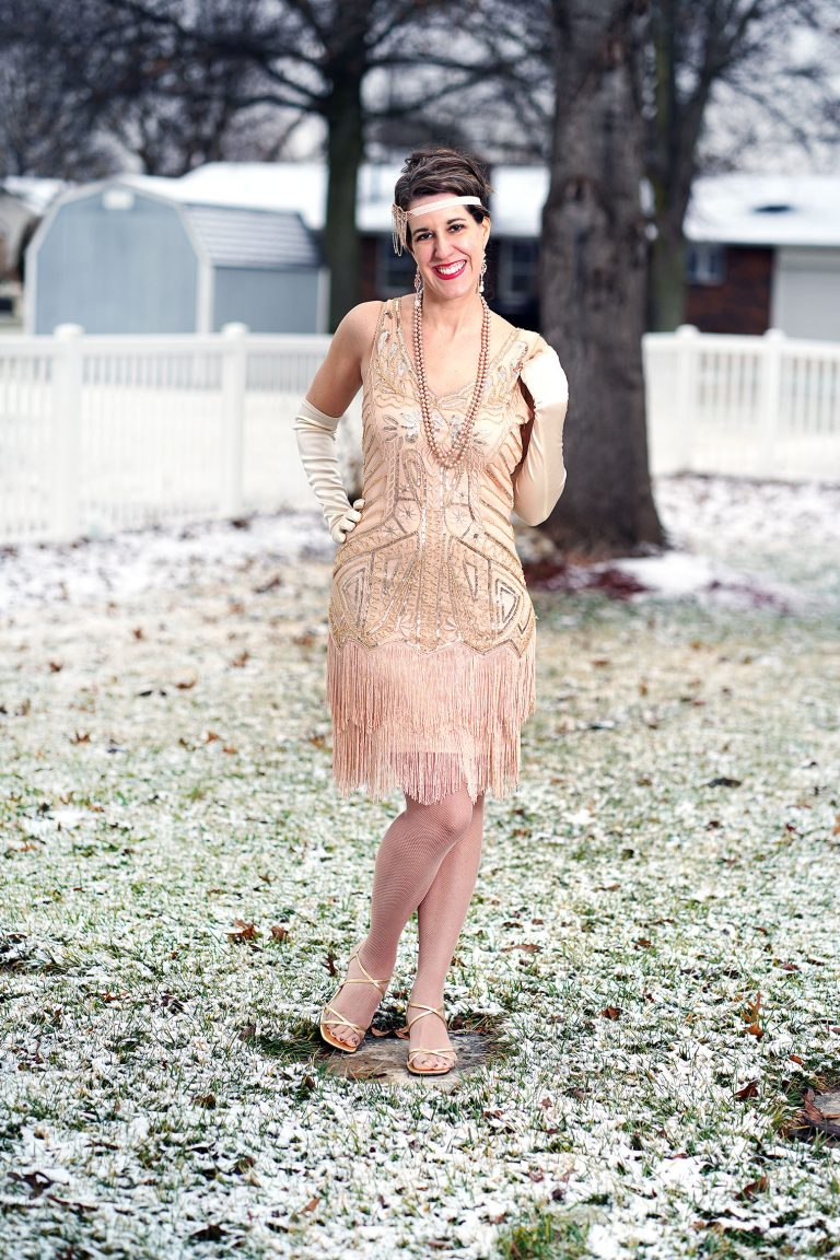 op of the World Style Winner Carrie in a 1920 inspired nude sequin flapper dress