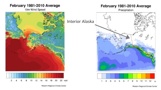 diagrams of February climate normal of monthly mean wind speed and precipitation in Alaska