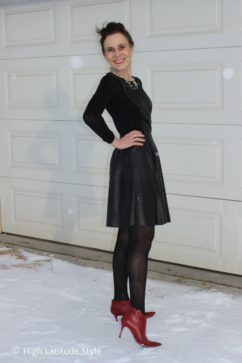 Nicole of High Latitude Style in Sheertex pantyhose, LBD, red heels, statement necklace and earrings
