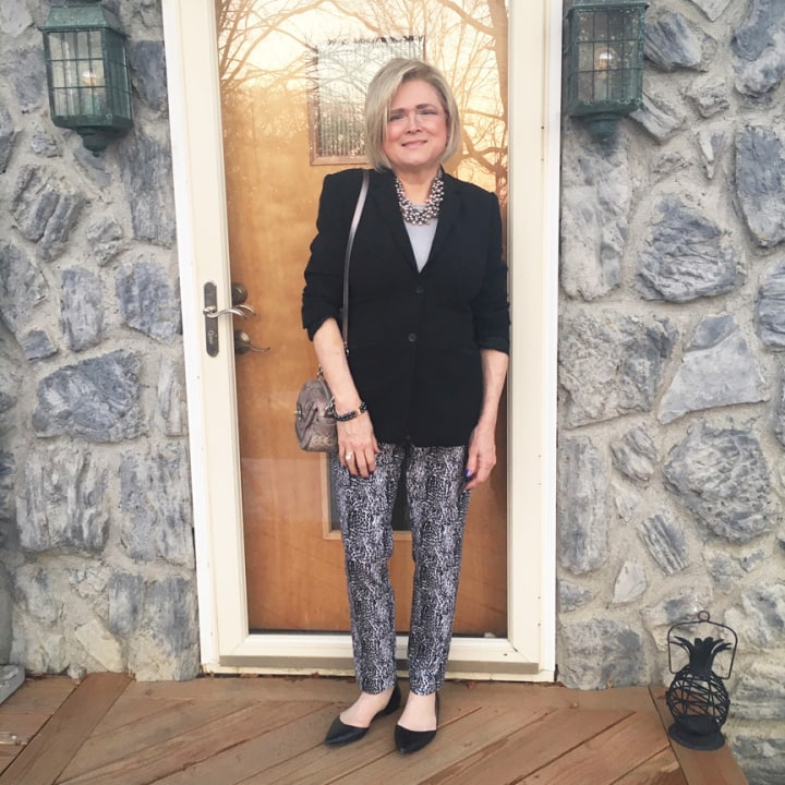 Top of the World OOTD Readers' Fav in snake print pants, black blazer, pointy toe flats